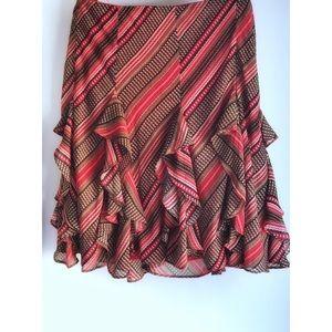 Ralph Lauren LRL Large Midi Ruffle Skirt Lined Red